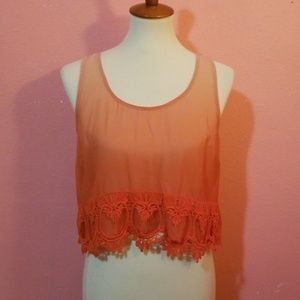 Tops - Sleeveless Ombre Orange Crochet Sheer Tank S
